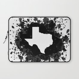 White State of Texas with Black Paint Splatter Laptop Sleeve