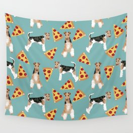 Wire Fox Terrier dog pattern pizza dog lover gifts for dog person dog breeds pet friendly Wall Tapestry