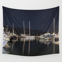 marina Wall Tapestries featuring Marina at Night by Deborah Janke