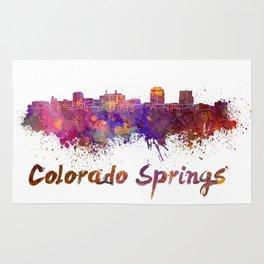 Colorado Springs skyline in watercolor Rug
