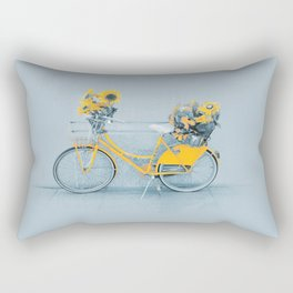Yellow vintage bike with sunflowers Rectangular Pillow