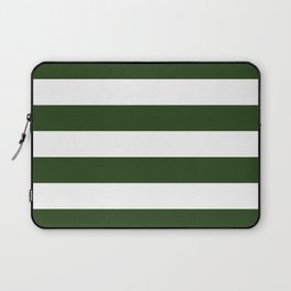 Large Dark Forest Green and White Cabana Tent Stripes Laptop Sleeve