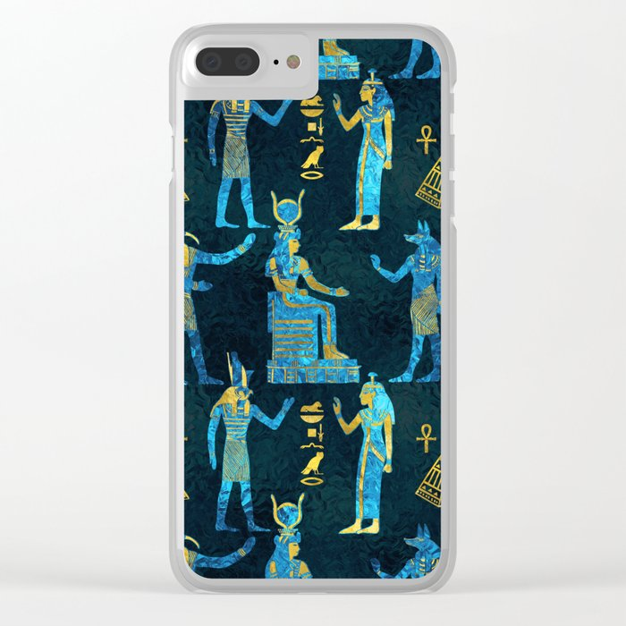 Egyptian  Gold and blue glass pattern Clear iPhone Case