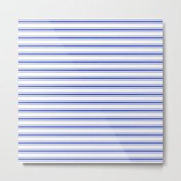 Horizontal Cobalt Blue and White French Mattress Ticking Stripes Metal Print