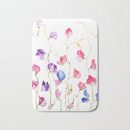 colorful sweet peas flower watercolor Bath Mat