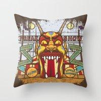 ahs Throw Pillows featuring AHS Freak Show by Samtronika