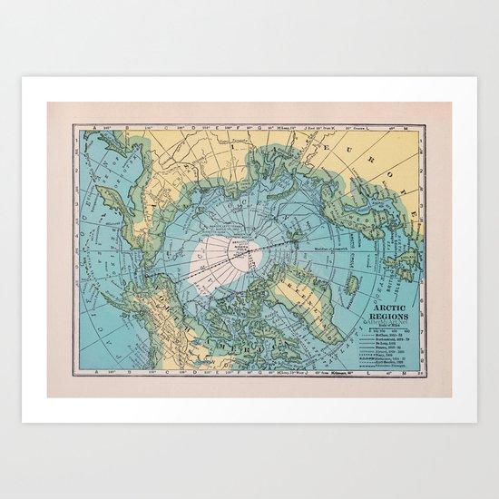 Vintage Arctic Map Art Print