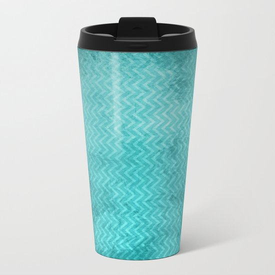 Textured limpet blue chevron pattern Metal Travel Mug