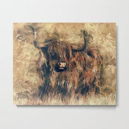 Highland Bull Art Metal Print