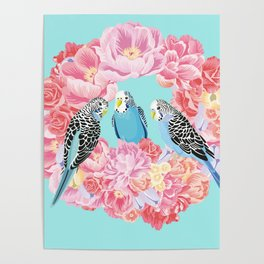 Birds of Paradise Parakeets Blue budgie Pink Peonies Flowers Wreath Poster