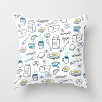 breakfast Throw Pillows featuring BreakfasT by Ceren Aksu Dikenci