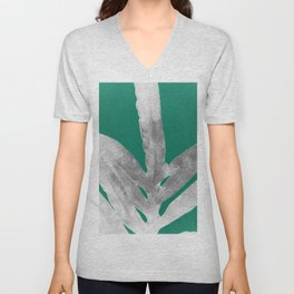 Christmas Fern, Holiday Green with Silver Winter Leaf Unisex V-Neck