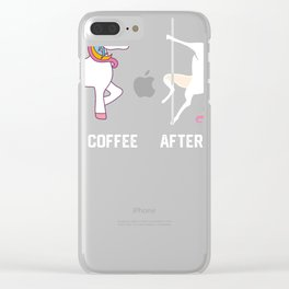 Funny Unicorn Before Coffee After Coffee T-shirts Gift Clear iPhone Case