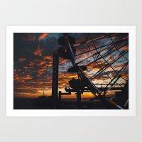 Sunset over Santa Monica Pier. Art Print