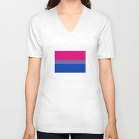 bisexual V-neck T-shirts featuring bisexual flag by tony tudor