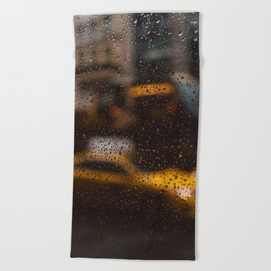 Rainy New York Beach Towel