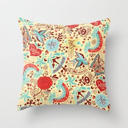 Happy Tatts Throw Pillow