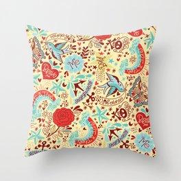 Happy Tatts Throw Pillow