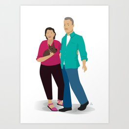 Couple with their Dog Art Print