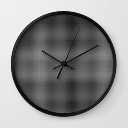 White and Gray Basket Weave Lines on Black Wall Clock