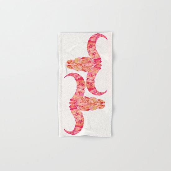 Water Buffalo Skull – Pink Ombré Hand & Bath Towel