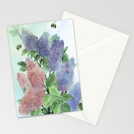 Lilacs and Bees Watercolor Painting Stationery Cards