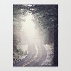 Fog Forest - Vintage Wanderlust Snow Mountain Road Trip Canvas Print