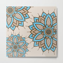 Tri Floral Parade Brown Blue Metal Print