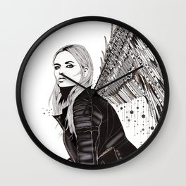 Flight - London Angel in Leather by Kristen Baker Wall Clock
