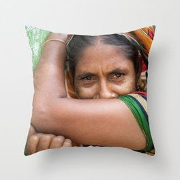 Colors of hidden smile Throw Pillow