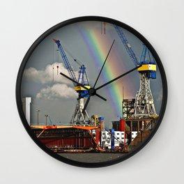 Rainbow over the port of HAMBURG Wall Clock
