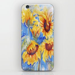 Sunflowers x 5 watercolor by CheyAnne Sexton iPhone Skin