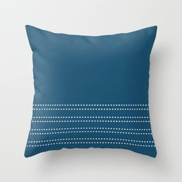 Zoe Dotted Smudge Stripes Minimalist Pattern in Aegean Blue and White Throw Pillow
