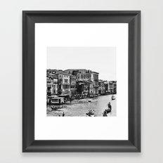 Along the Grand Canal b&w Framed Art Print