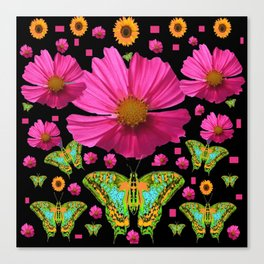 FUCHSIA PINK COSMO FLORALS GREEN MOTHS Canvas Print