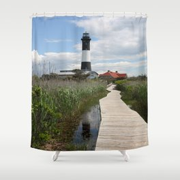 Fire Island Light With Reflection - Long Island Shower Curtain