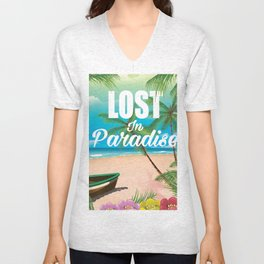 Lost in paradise travel poster Unisex V-Neck