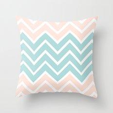 PEACH & BLUE CHEVRON Throw Pillow