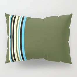 Stripes on kaki background - turquoise - ivory - limited edition 30/30 Pillow Sham