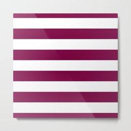 Royal Plum Velvet and White Cabana Stripes Metal Print