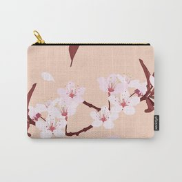 sakura flowers on peach background Carry-All Pouch