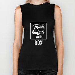 Think Outside the BOX | Art Saying Quotes Biker Tank