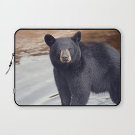 Young black bear near water Laptop Sleeve