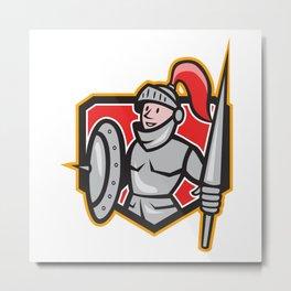 Knight Shield Lance Crest Cartoon Metal Print