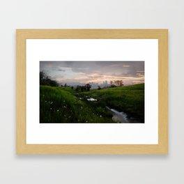 The city meets the prairies Framed Art Print