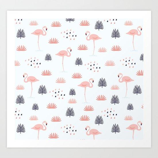 Flamingo Pattern Art Print