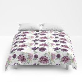 Succulents Deep Violet Lavender Pastel Green Lilac Pattern 2 Comforters