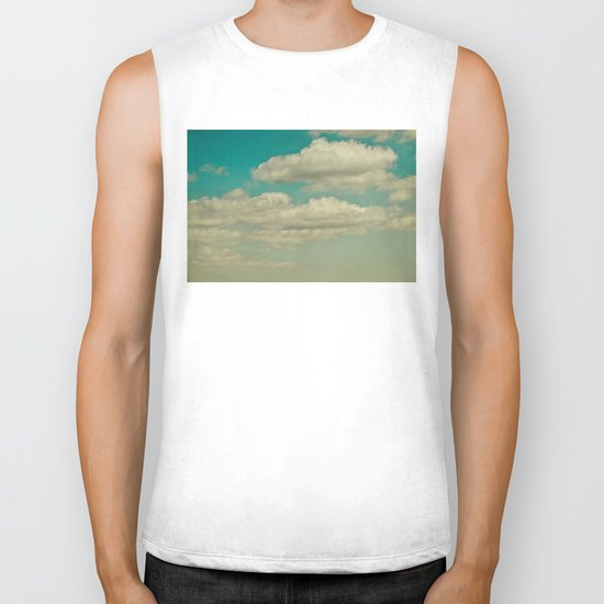 light blue sky Biker Tank