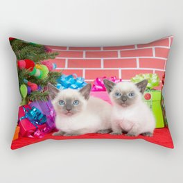 Siamese kittens Sibling Christmas Rectangular Pillow