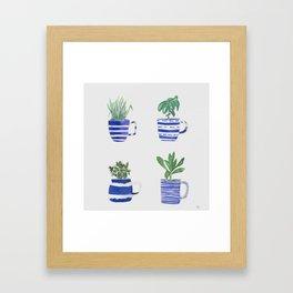 Blue stripes and herbs quartet Framed Art Print